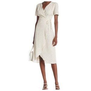 Everly Cream Mini Dot Print Wrap Dress Size M